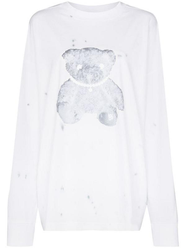 We11done Teddy Bear cotton sweatshirt in white