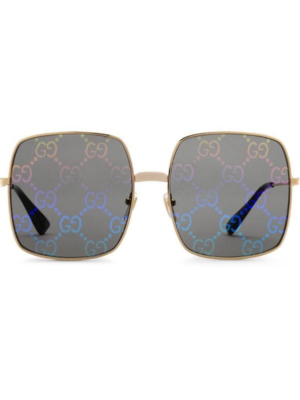 Gucci Eyewear rectangular-frame sunglasses in gold