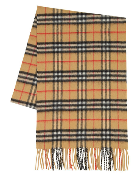BURBERRY Classic Check Cashmere Scarf in yellow