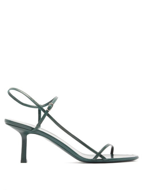 The Row - Bare Mid Heel Leather Sandals - Womens - Dark Green