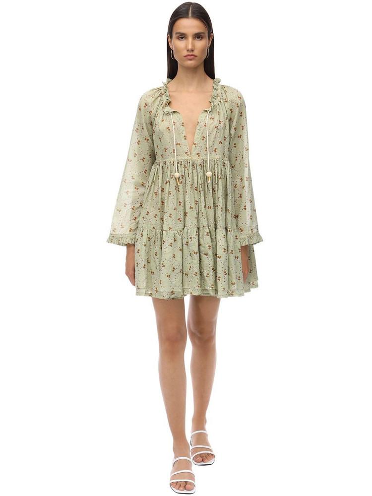 YVONNE S Cotton Voile Mini Dress in green