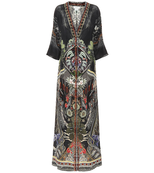 Camilla Embellished printed silk maxi dress in black