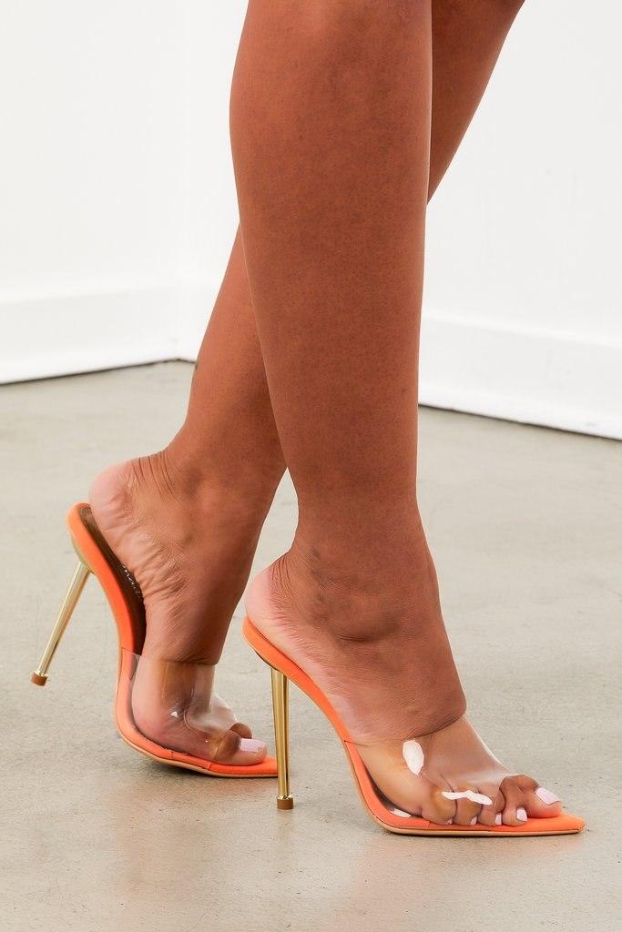 Neon Orange Pointed Toe Heel