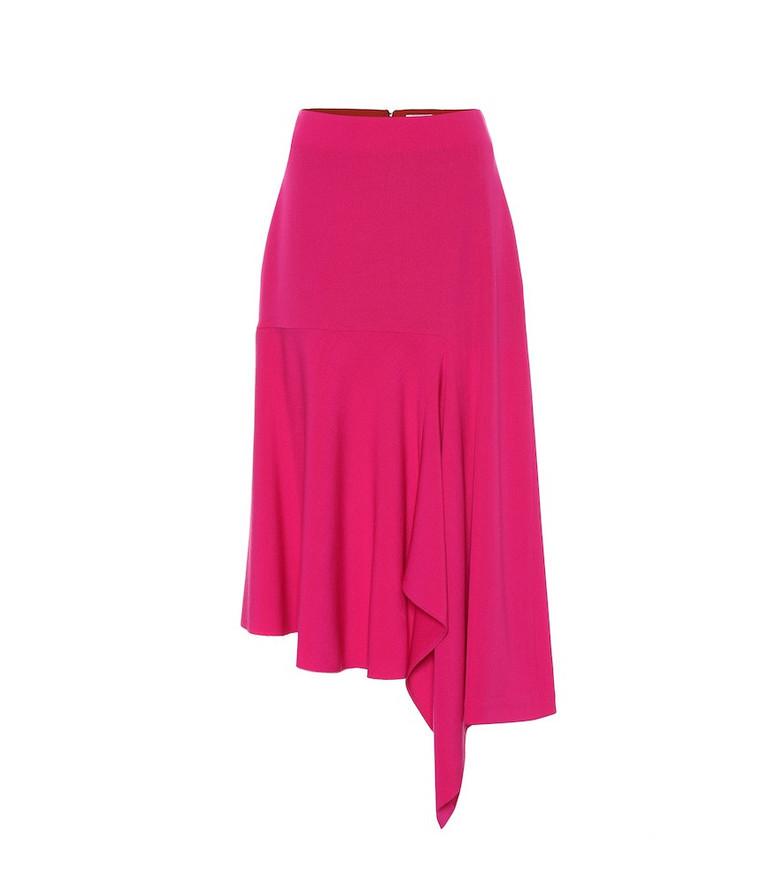 Balenciaga Godet stretch-wool midi skirt in pink