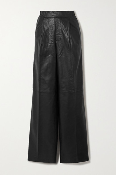 REMAIN Birger Christensen - Duchesse Leather Straight-leg Pants - Black