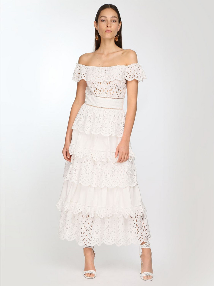 ZUHAIR MURAD Cotton Lace Midi Dress in white