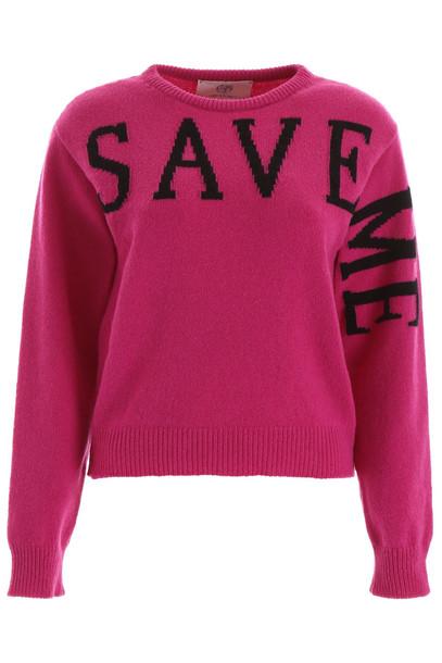 Alberta Ferretti Save Me Pullover in black / fuchsia