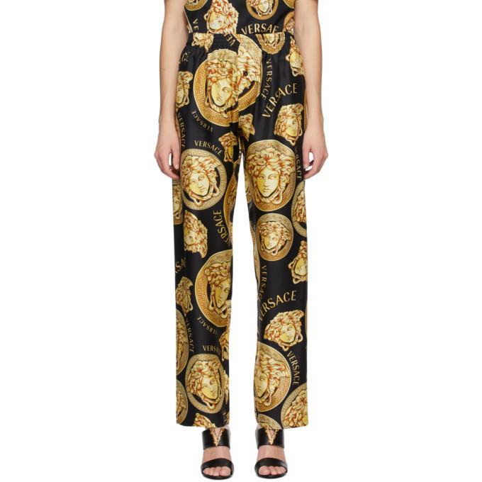 Versace Black and Yellow Silk Medusa Amplified Pyjama Pants in gold