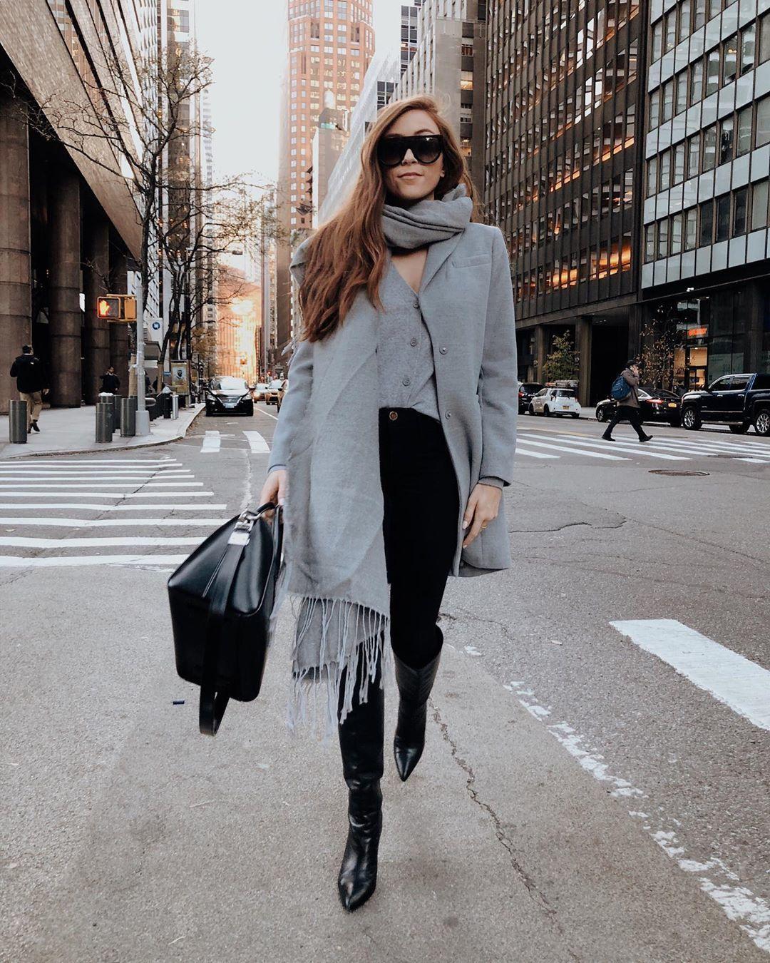 coat grey coat knee high boots black boots black skinny jeans cardigan black bag scarf