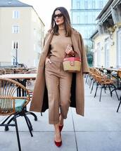 bag,handbag,kate spade,pumps,high waisted pants,pleated,camel coat,knitted sweater