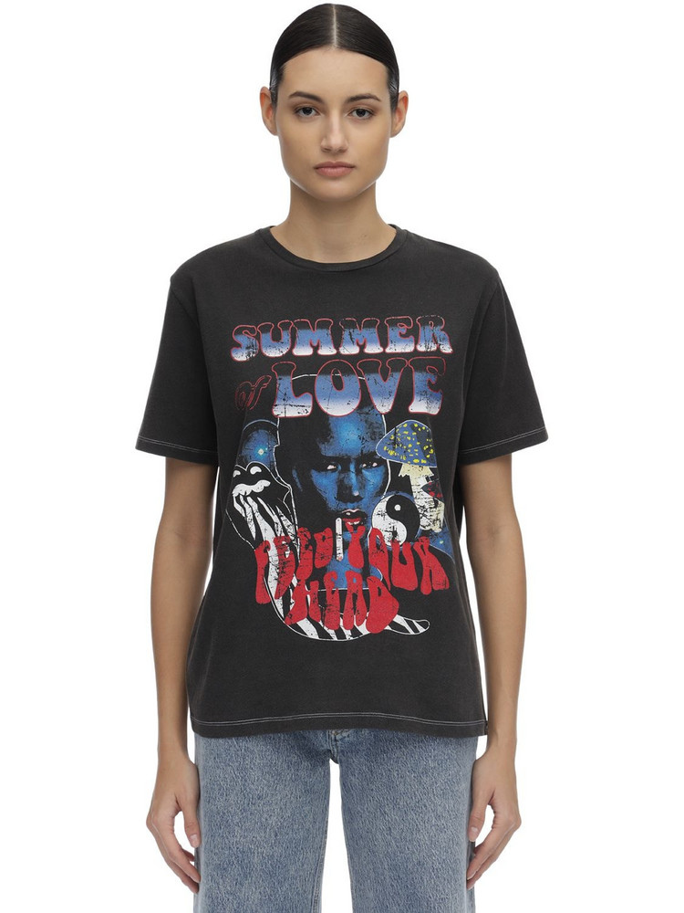 FILLES A PAPA Printed Cotton Jersey T-shirt in black / multi