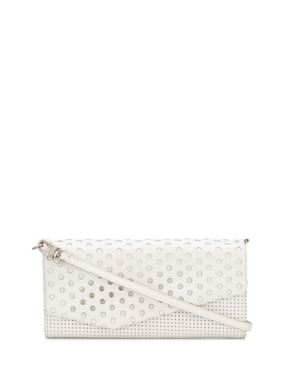 Issey Miyake Pre-Owned 2000s perforated pattern shoulder bag in white