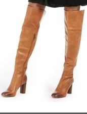 shoes,chunky heels,brown leather boots,leather boots,tan chunky heels,over the knee boots,over the knee,tan,boots