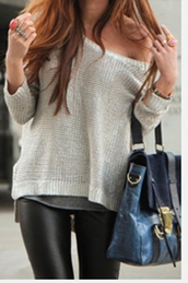 white sweater,jeans,sweater,bag,black pants,pants,knit wear,knitted sweater,blue,gold,clothes,cute,fashion,tumblr,off the shoulder,oversized sweater,ivory,cream,creme,beige,loose,pretty,white,jumper,slouchy,slouchy sweater,leather leggings,beige knit sweater,navy bag,black leather pants,blouse,grey,leather,leggings,top,off the shoulder top,knitted cardigan,leather pants,grey sweater,shirt