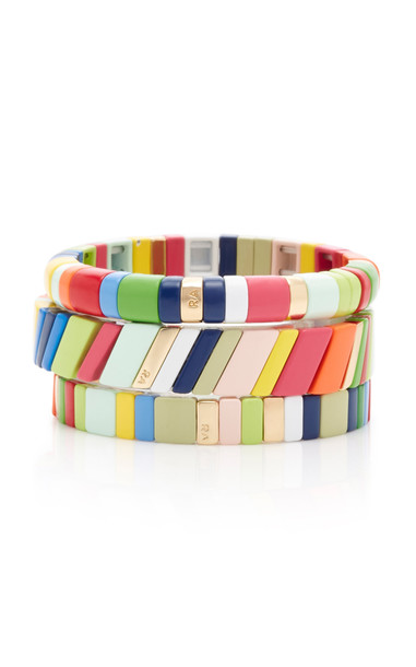 Roxanne Assoulin Set-Of-Three Fruit Stripe Enamel Bracelets in multi