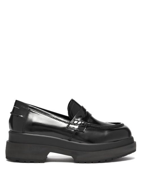 Mm6 Maison Margiela - Raised Sole Patent Leather Penny Loafers - Womens - Black