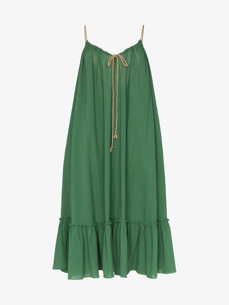 Three Graces Agatha midi string tie layered dress in green
