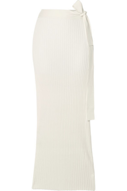 By Malene Birger - Esther Ribbed-knit Wrap Midi Skirt - White