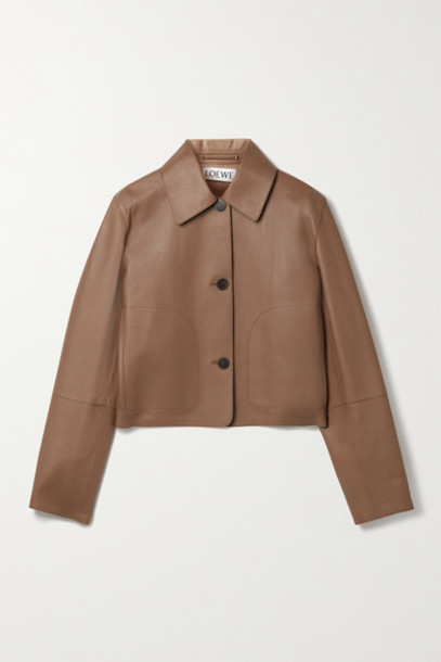 Loewe - Cropped Leather Jacket - Tan