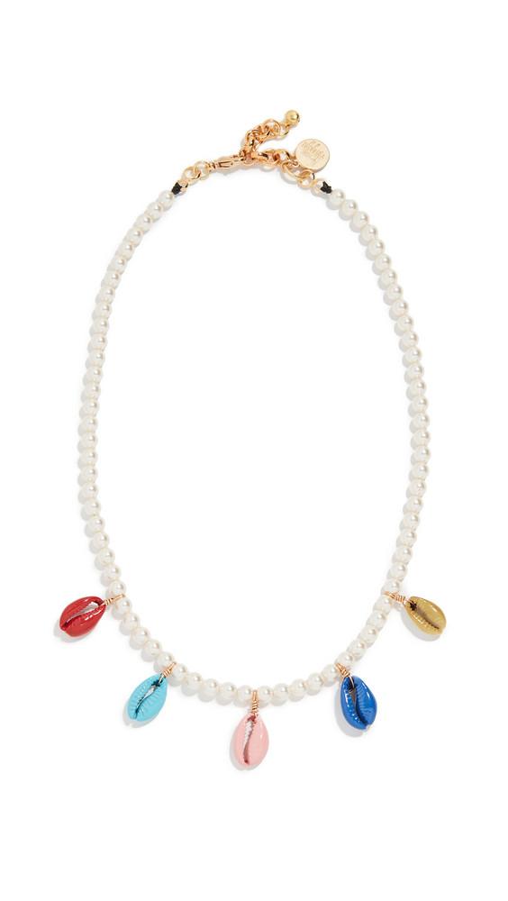 Venessa Arizaga Rainbow Shell Swarovski Crystal Pearl Necklace in multi