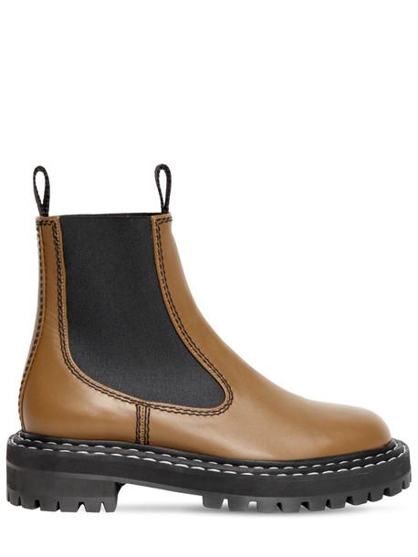 PROENZA SCHOULER 30mm Leather Beatle Boots in khaki