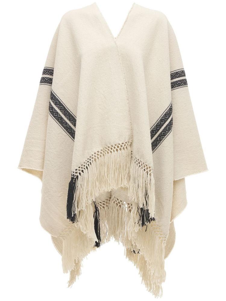 ÀCHEVAL PAMPA Ruana Lama & Wool Knit Poncho in white