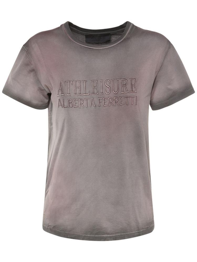 ALBERTA FERRETTI Cotton Jersey Logo T-shirt in grey / multi