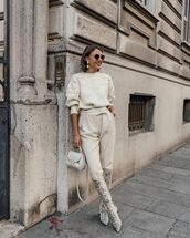 sweater,knitted sweater,high waisted pants,knee high boots,white bag