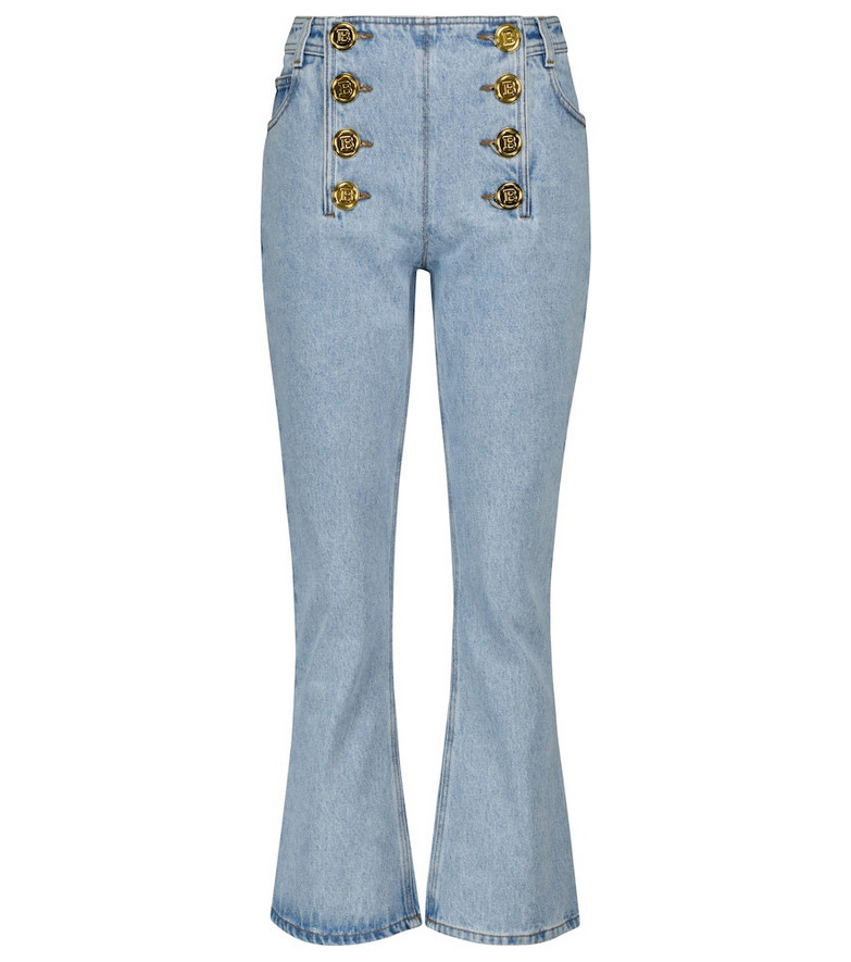 Balmain Embellished low-rise flared jeans in blue