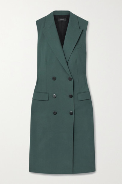 Theory - Double-breasted Stretch-wool Vest - Forest green