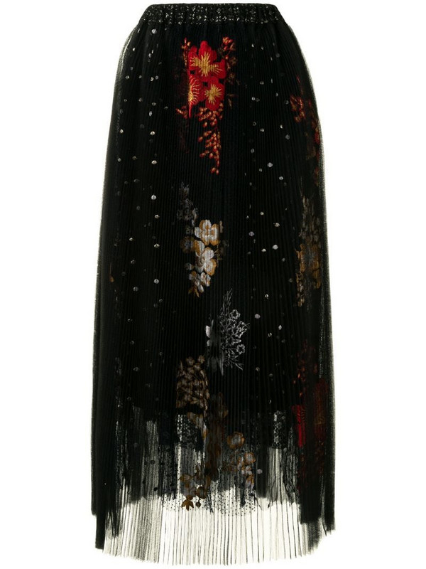 Biyan embroidered pleated midi skirt in black