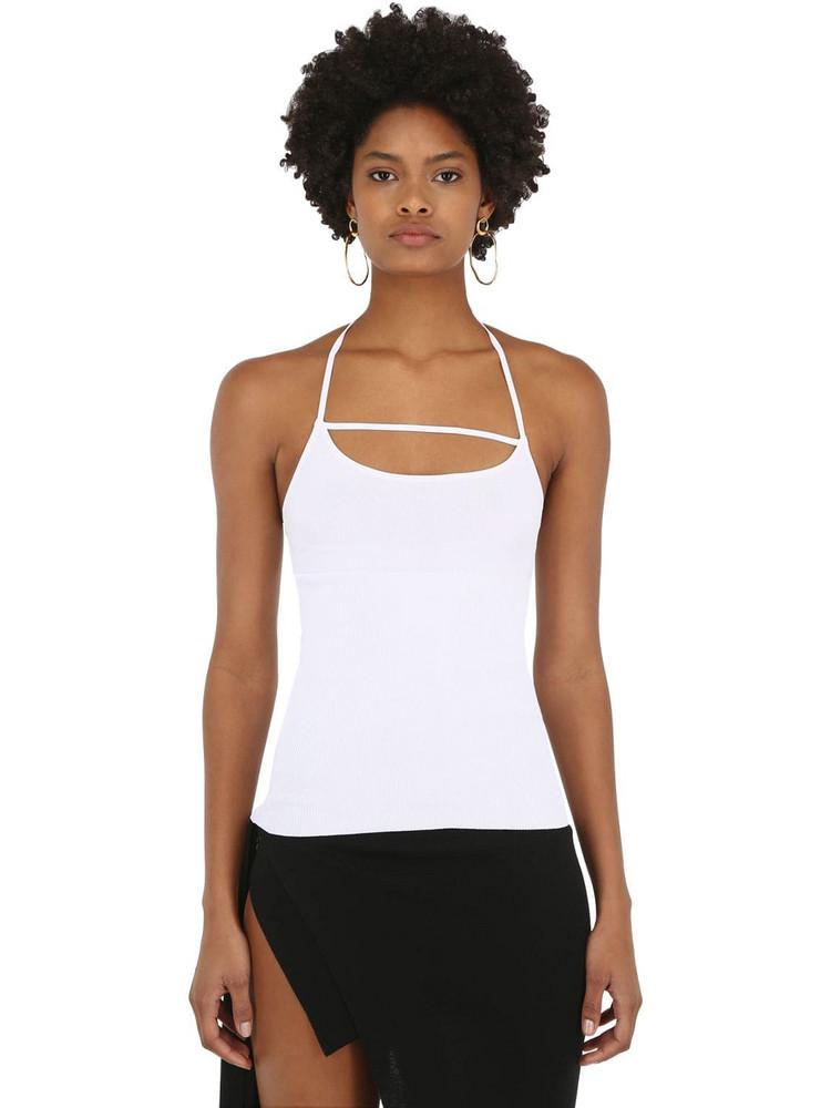 JACQUEMUS La Maille Dolce Aqua Viscose Knit Top in white