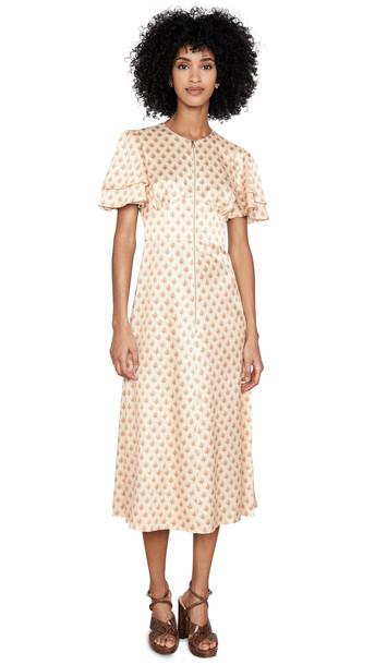 Alexa Chung Zip Detail Long Dress in cream