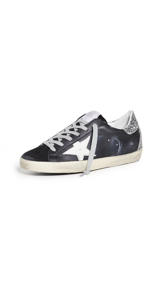 Golden Goose Superstar Sneakers in black / silver / white