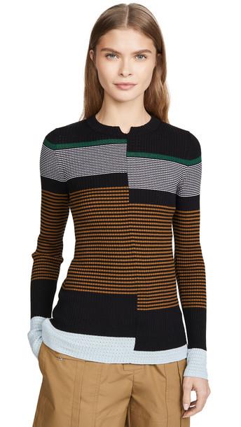 Proenza Schouler White Label Fine Gauge Rib Pullover in black / multi