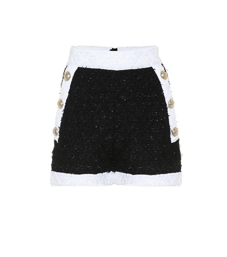 Balmain Bouclé shorts in black