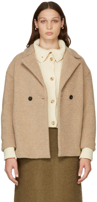 Harris Wharf London Bouclé Dropped Shoulder Double-Breasted Jacket in tan