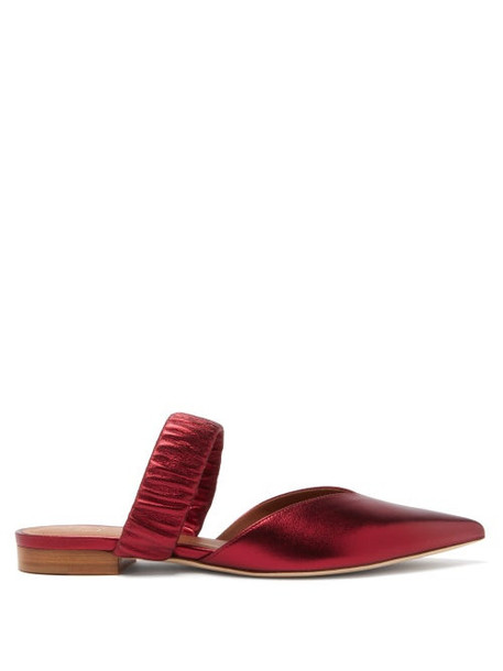 Malone Souliers - Matilda Ruched-strap Metallic-leather Mules - Womens - Red