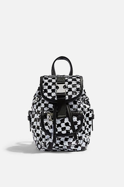 Topshop Nyc Check Sequin Backpack - Monochrome