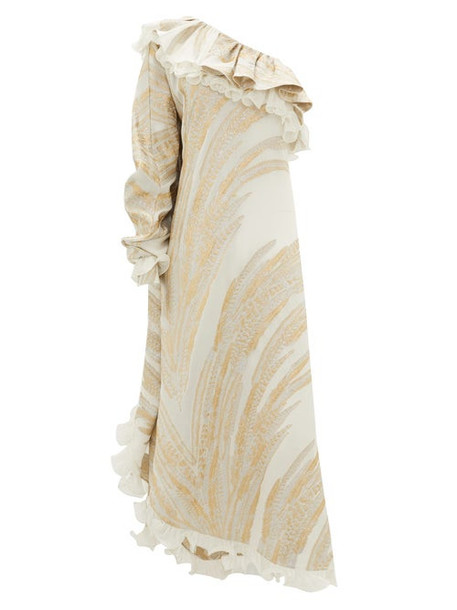 Dundas - One-shoulder Feather-jacquard Crepe Dress - Womens - White