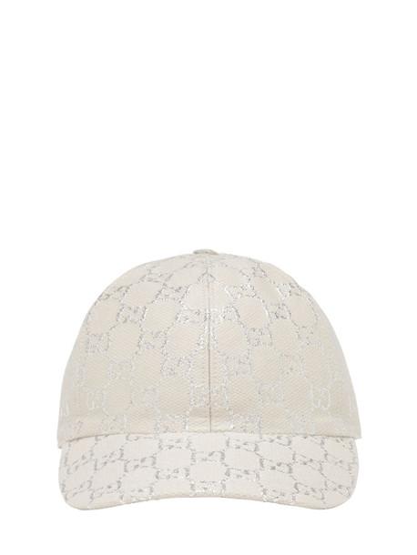 GUCCI Gg Wool Lamé Baseball Hat in white