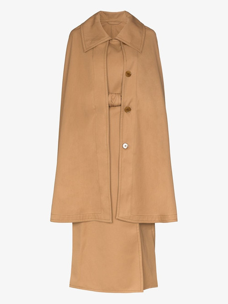 Lemaire cape belted trench coat in brown