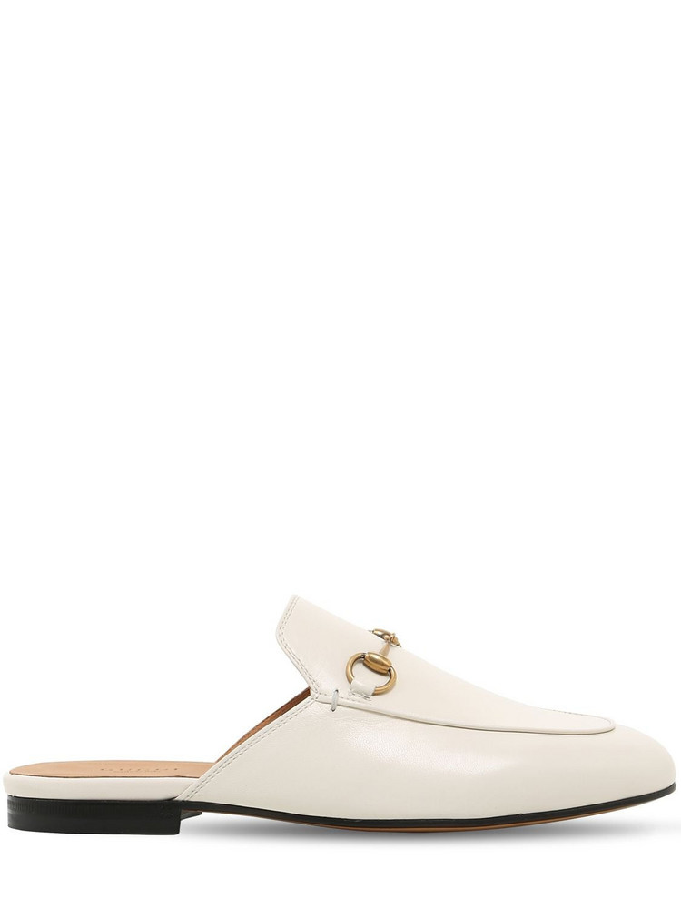GUCCI 10mm Princetown Leather Mules in white