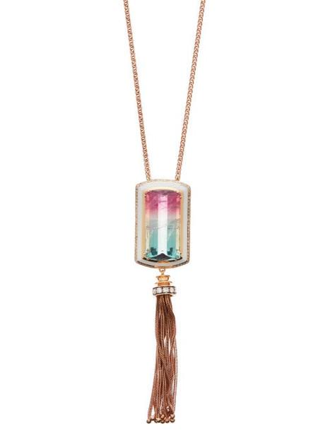 Selim Mouzannar - Diamond, Tourmaline & 18kt Gold Necklace - Womens - Pink Multi