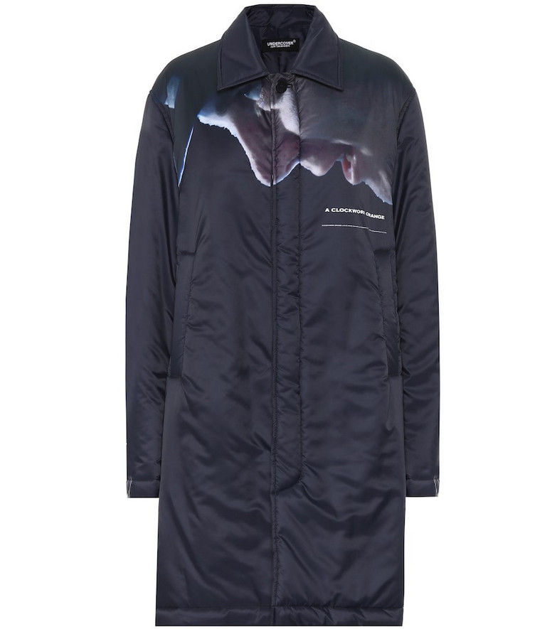 Undercover Printed satin coat in blue