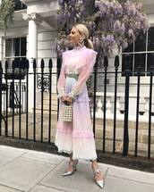 dress,white dress,maxi dress,lace dress,long sleeve dress,handbag,pearl,mules,ombre dress