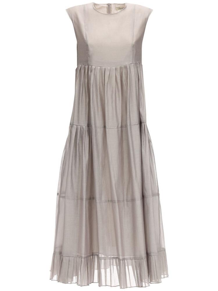 MAX MARA 'S Ruffled Cotton & Silk Long Dress in grey