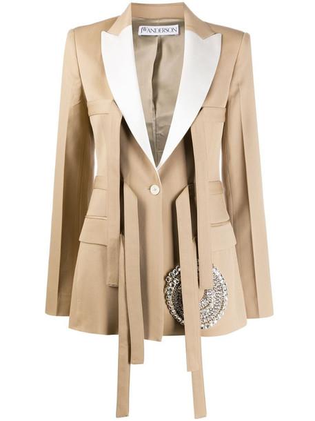 JW Anderson strap-detail tailored blazer in neutrals