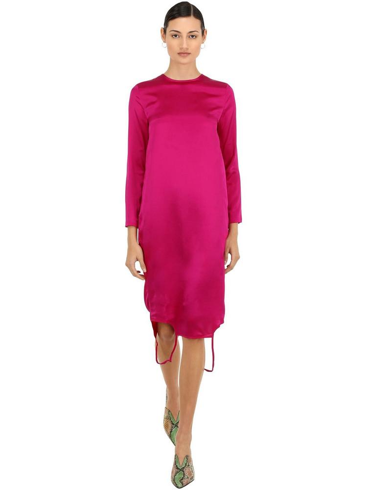MARQUES'ALMEIDA Twisted Silk Satin Dress in fuchsia