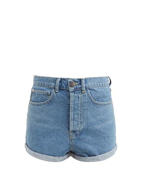 Raey - Low Cut Off Denim Shorts - Womens - Light Denim